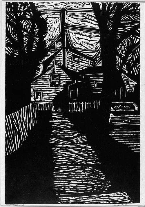 Stan Kaplan  Old Neighborhood  Linocut