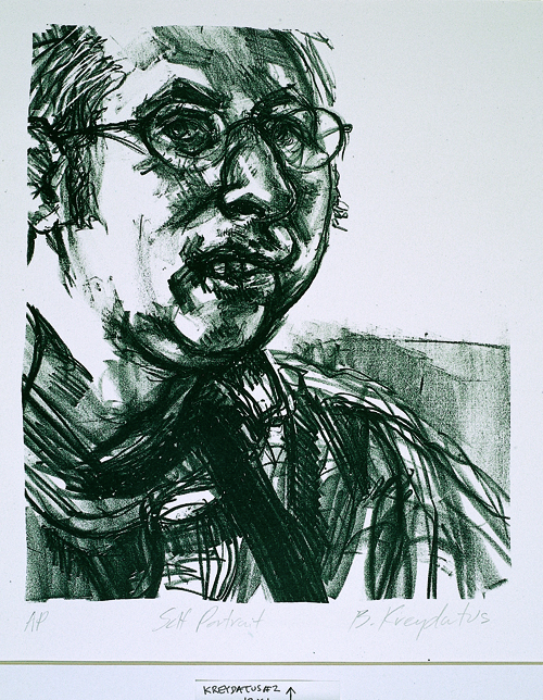 Brian Kreydatus  Self Portrait  Lithography