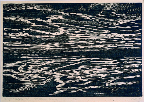 Kathryn Metz  Twilight Silhouette  Woodcut