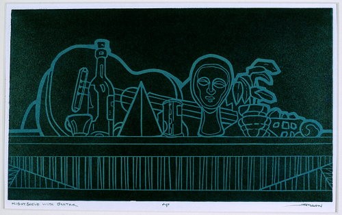 James M. Mullen  Nightshelf with Guitar  Color linocut