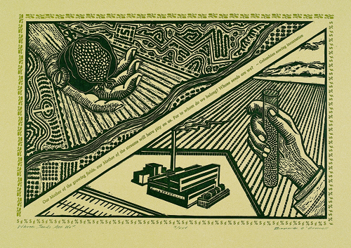 Bonnie O'Connell  Whose Seeds Are We?  Letterpress, linocut-relief