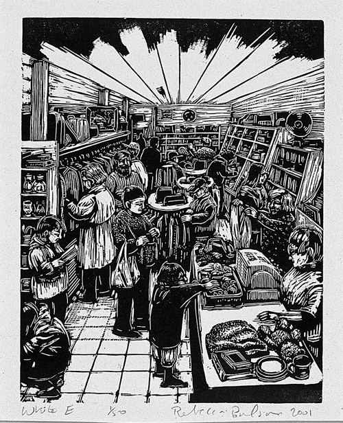 Rebecca Poulson  White E  Wood engraving