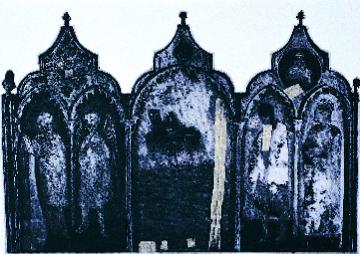 Edward Bernstein  Terremoto  photogravure, intaglio, chine collé