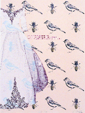 April Flanders  Birds and Bees  lithography/silkscreen