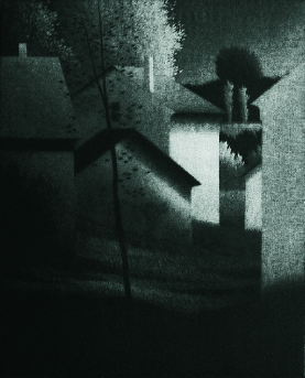 Robert Kipness  Houses and Sheds  mezzotint