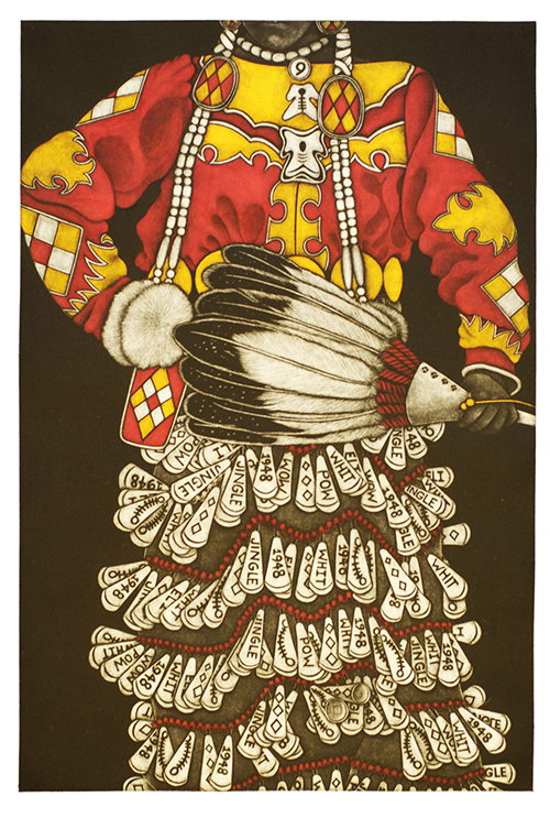 Linda Whitney   Red Jingle Dress III , 2015 mezzotint 18 x 12 inches