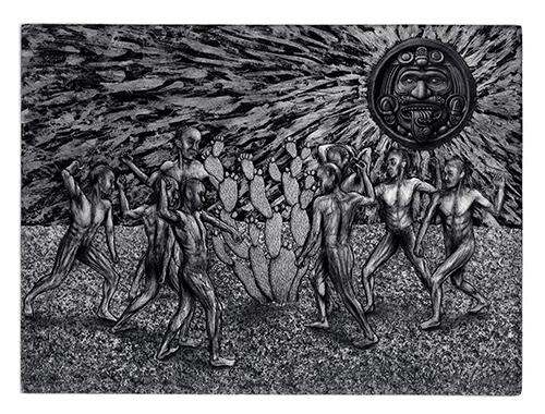 Marco Hernandez   La Batalla , 2015 etching 9 x 12 inches