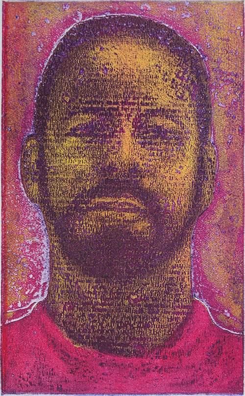 Tyrus Clutter   Intertextual Portrait: Red , 2015 color viscosity intaglio  8 x 5 inches