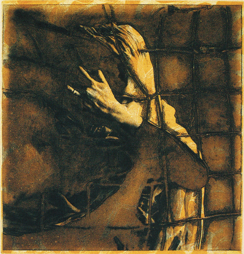 Lea Barton  Caged  etching