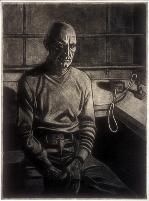 Richard H. Berns  An Afternoon at the Lab  Mezzotint, drypoint, engraving