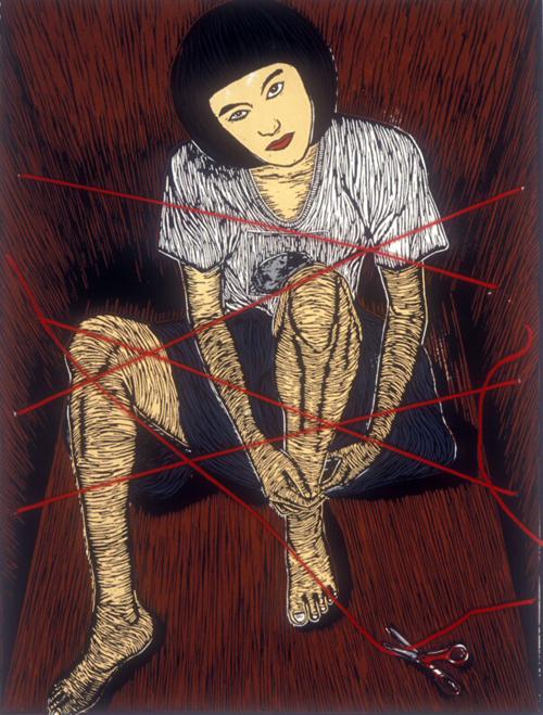 Viesen Hwang  Self-portrait  silkscreen (linocut transfer