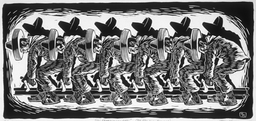 Tom Knapp  Los ferrocarrileros (the railroad workers)  linocut