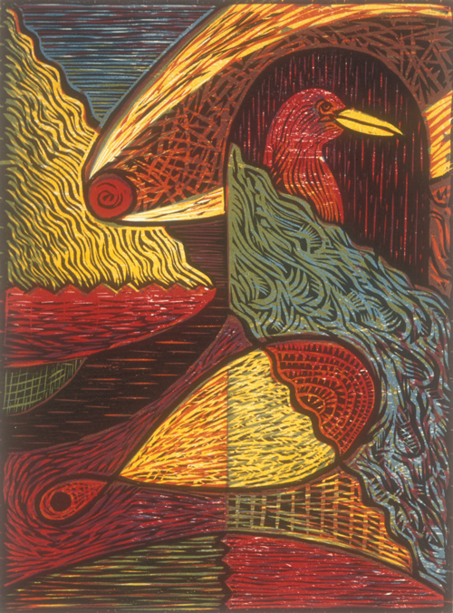 Joe Sanders  Hale Bopp  woodcut