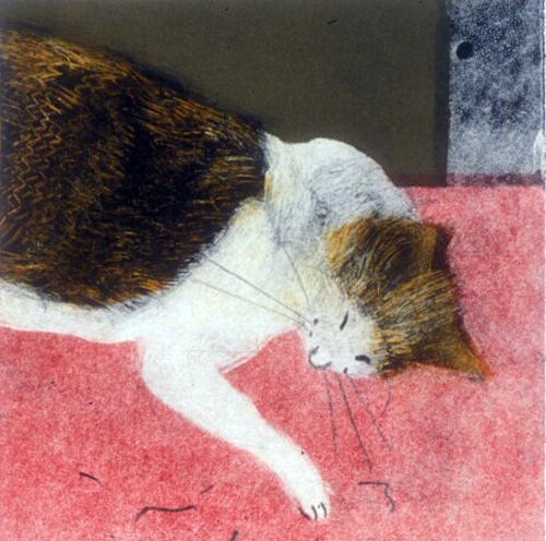 "Keiko Tanifuji  From ""Miaow"" Series #1  monotype"