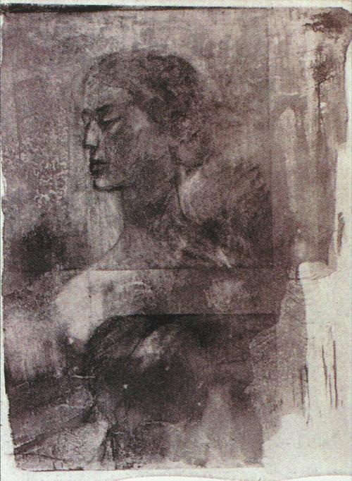P. Lipman  Portrait of a Woman  Polymer-plate intaglio