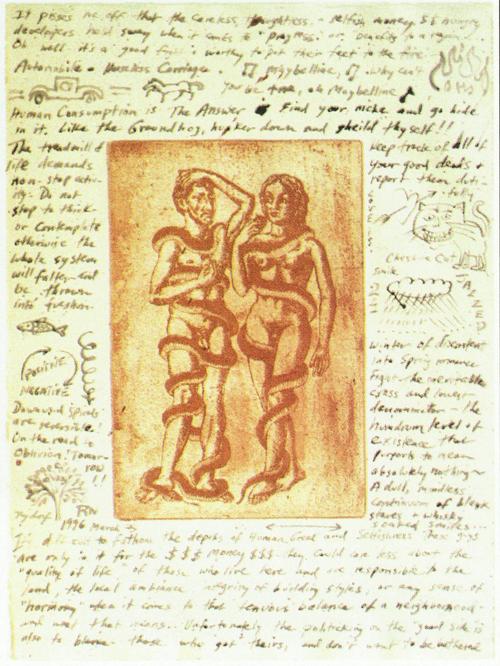 Roy Nydorf  Adam and Eve: Tirade vs. Greed  etching, ink border