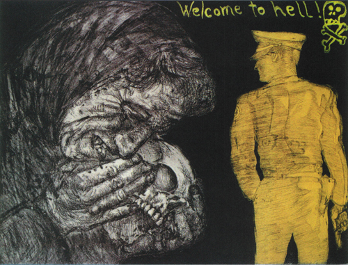 Roy Nydorf  Welcome to Hell  intaglio, relief, color, collé