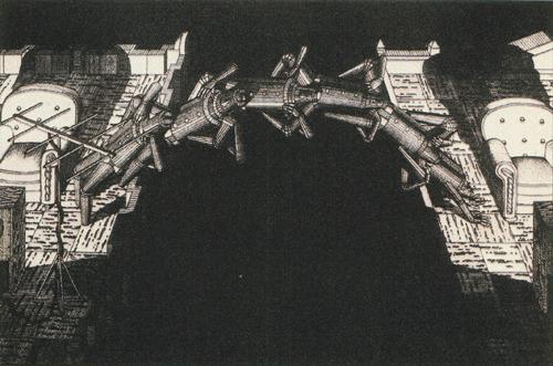 Brian Paulsen  Bridging Buildings  plastic engraving
