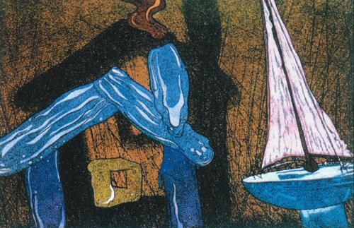 Elizabeth Yarosz  Houseboat  hand colored intaglio