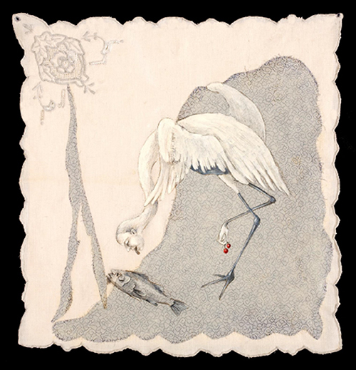 Kelli Scott Kelley   The Heron and the Fish , 2010 acrylic and stitching on re-purposed fabrics 16 x 15.5 inches