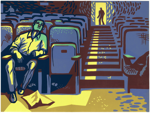 Brackett-Krennerich and Associates Purchase Award   Natalia Moroz   In the Cinema, the Big Sleep , 2008 linocut 12 x 16 inches
