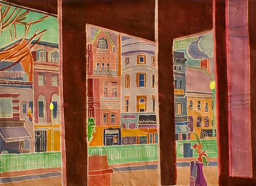 Chancellor's Purchase Award   Aline Feldman   Afternoon Facades , 2011 White Line Woodcut 17.75 x 24.75 inches
