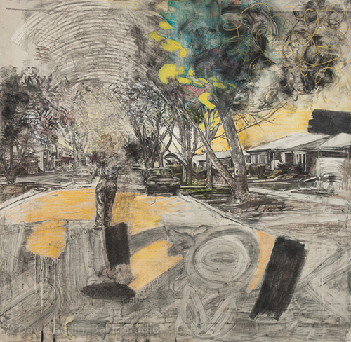 David Bailin   Push , 2013 charcoal, pastel and coffee on prepared paper 72.5 x 76.5 inches