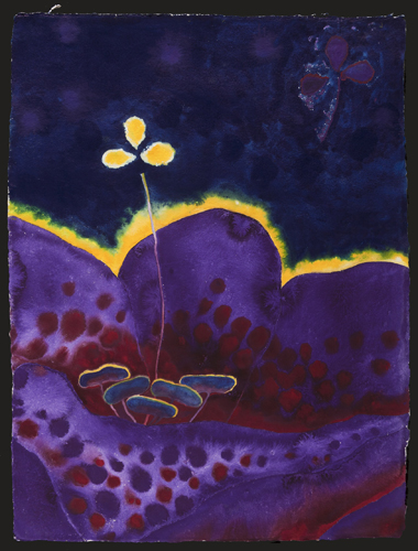 Basil Alkazzi   Twilight of Whispering Dreams VI , 2011 gouache on handmade paper 40 x 30 inches courtesy of the artist