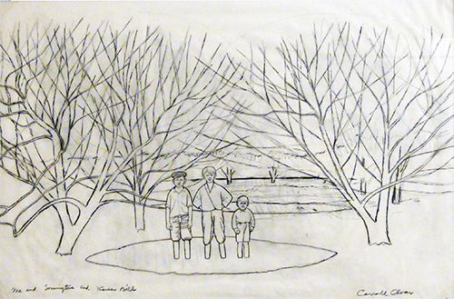 Carroll Cloar   October Picnic , n.d. graphite and felt top pen on tracing paper and Conté pencil on tracing on verso 23 x 34 inches Arkansas State University Permanent Collection of Art Gift of Hasselle and Judy McCain