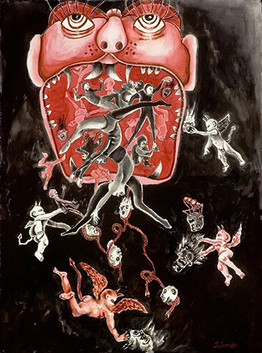 Larry Edwards  American, born 1931, Jackson, Mississippi (lives in Memphis, Tennessee)  Hellmouth No. 1, Imps and Sinners , 2005 gouache, pastel, and ink on paper Courtesy of the artist