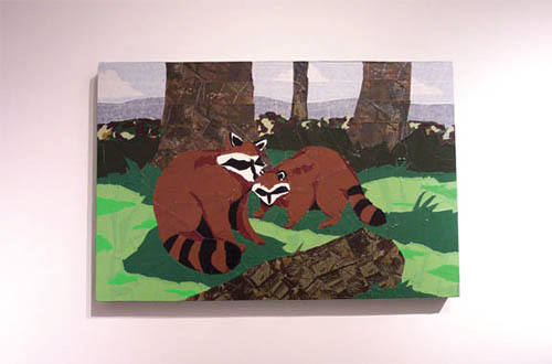 Betsy Odom   Tape Raccoons , 2005 tape on board