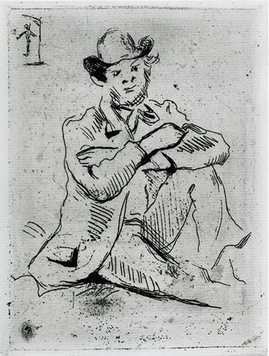 Paul Cezanne   Portrait of the Painter A. Guillaumin at Hangman , 1873 etching and aquatint 7 x 5.375 inches