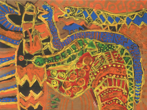Kofi Kayiga   Golden Serpent , 1992 acrylic on paper 36 x 48 inches Courtesy of Kingdom Fine Arts