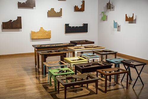 Greely Myatt   Plateaus of Platitudes , 2014 reclaimed tables and steel room installation