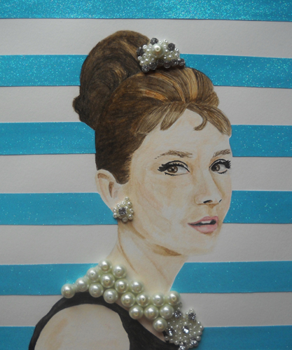Michale Riggs   What About Breakfast At Tiffany's? , 2013 watercolor, pearls, rhinestones, and glitter on paper 12 x 12 inches