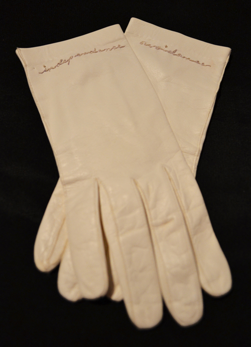 Marki Anyce Steele   Independence/Avoidance , 2011 hand stitching on leather gloves  I create art that rewards the viewer who is willing to take a closer look. By inserting delicate details, I draw attention to the sentimental significance in the ordinary. -Marki Anyce Steel