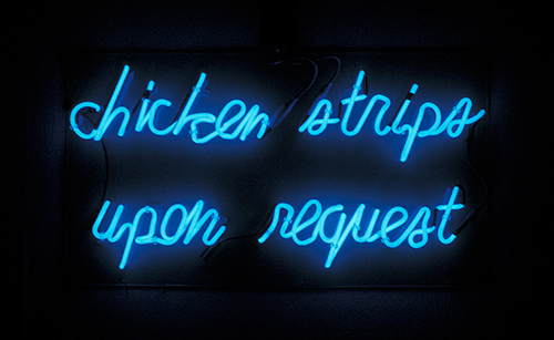 Bill Rowe   Chicken Strips , 2008 neon and plexiglas 20 x 36 x 3 inches