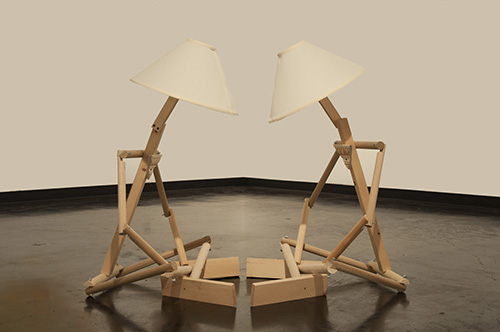 Derek Parnell   Soul Mates , 2016 wood, lamp shades, assorted hardware and light 2 at 4 x 2 x 2 feet