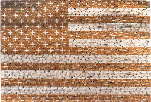 John Salvest   Smoke Free , 1998 cigarette butts, wood