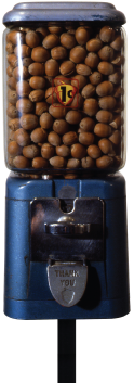 John Salvest   Acorn Dispenser , 1992 steel, glass, acorns, decal