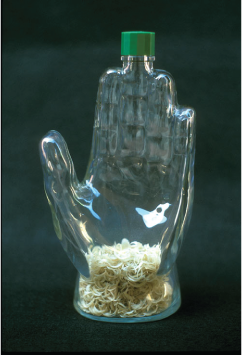 John Salvest   Reliquary , 1990 glass, plastic, fingernail clippings
