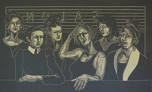 Cheryl Wall Trimarchi Purchase Award. Permanent Collection, Arkansas State University. In Memory of Martha & Bryant Wall.   Janet Badger   Salon , 2015 linocut 14 x 24 inches