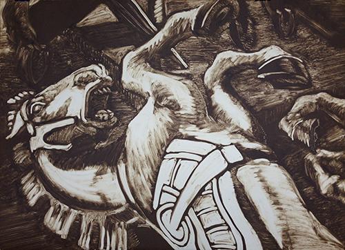 Dr. Jason Penry Sponsorship. Underwritten by Dr. Jason Penry, Jonesboro.   Helen Cox   Dead Horse , 2016 monoprint 21.25 x 29 inches
