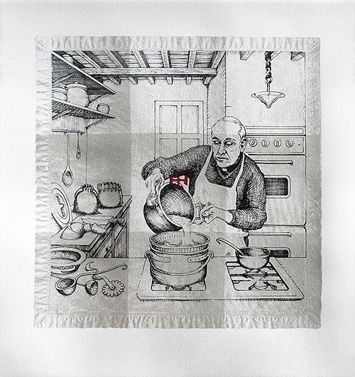 Andrew DeCaen   Opera Di Cucina II , 2016 screenprint 22 x 21 inches