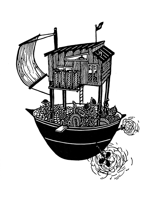 Lauren Kinney   Houseboat II , 2016 woodcut 14 x 11 inches