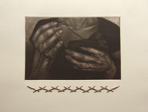 Carrie Lingscheit   The Spirit is Willing but the Fiber is Weak  2016 drypoint and cotton thread 5 x 6 inches