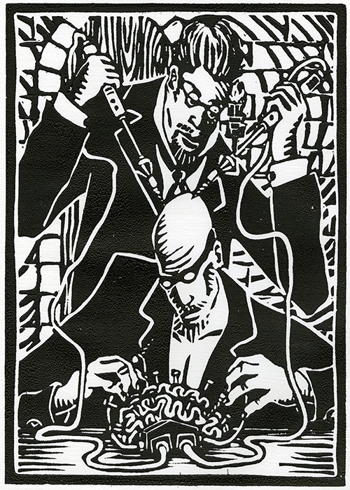Justin Lorenzen   Critical Mass , 2015 linocut 10.5 x 7.5 inches