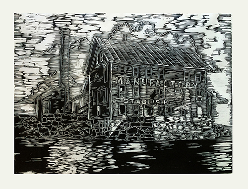 Emily Reinauer   Copper Paint Factory , 2016 woodcut 20.5 x 26.5 inches
