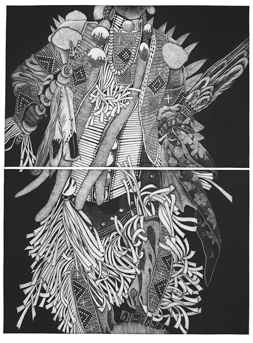 Linda Whitney   Cold Moon Dancer , 2016 mezzotint 24 x 18 inches