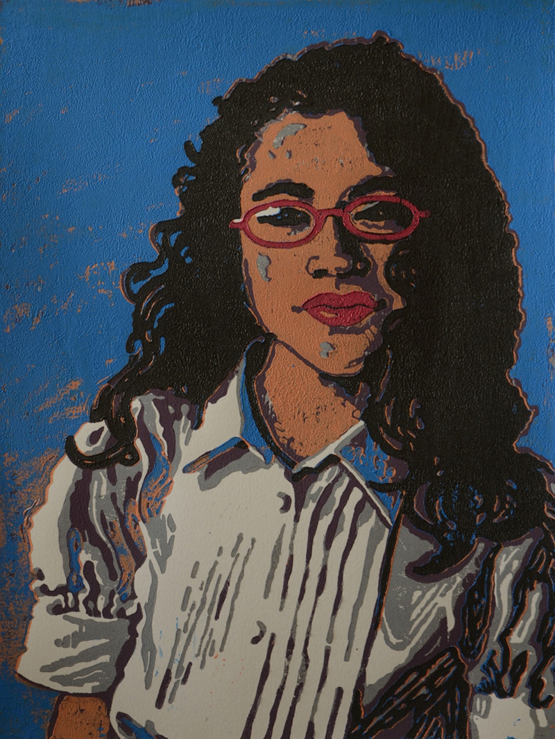 Karen Albanese Campbell   Girl with Red Glasses , 2016 reductive linocut relief 12 x 9 inches